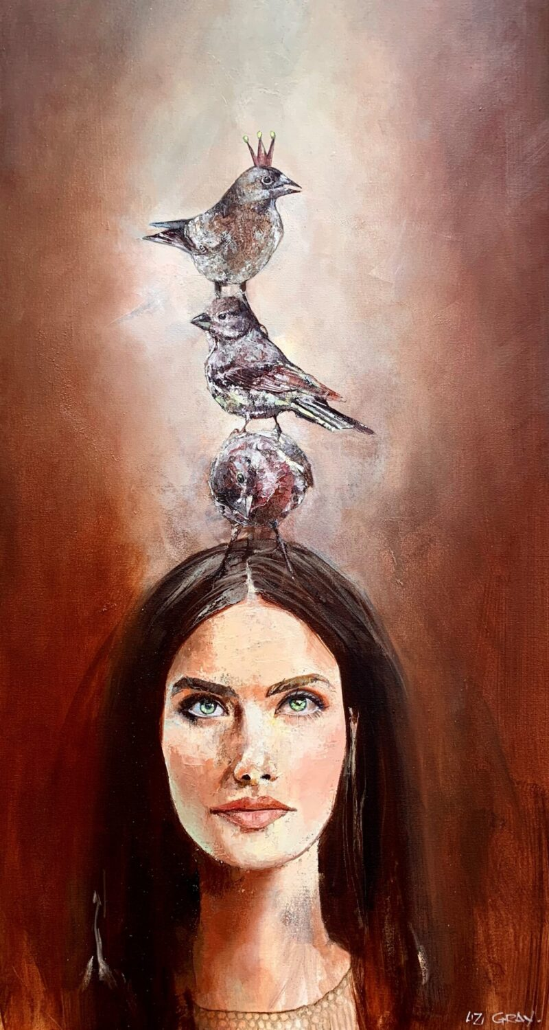 Liz Gray's A little Birdy told Me oil painting