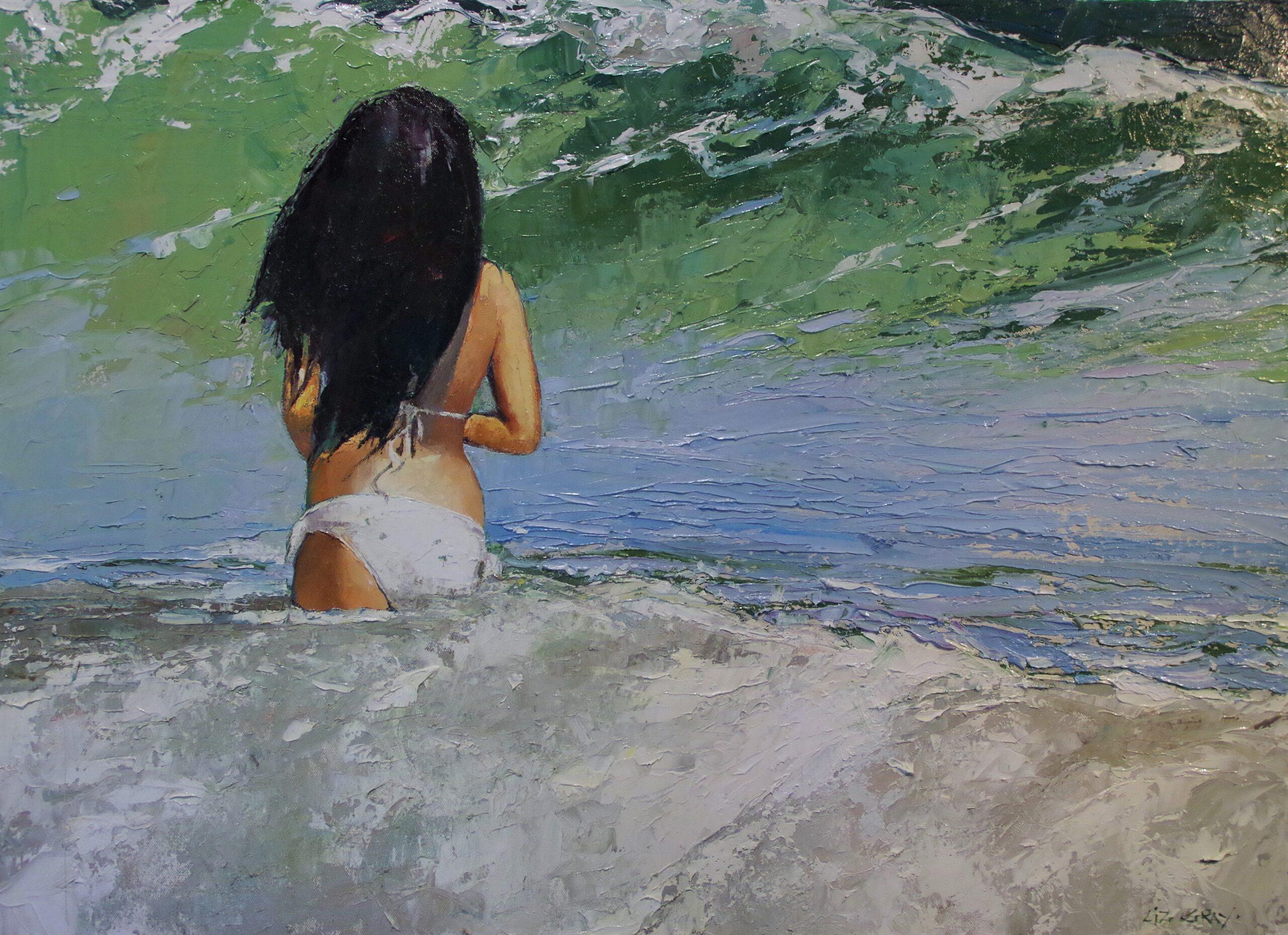 Liz Gray's Big Wave oil painting