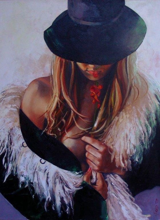 Liz Gray's Flower and Fur oil painting