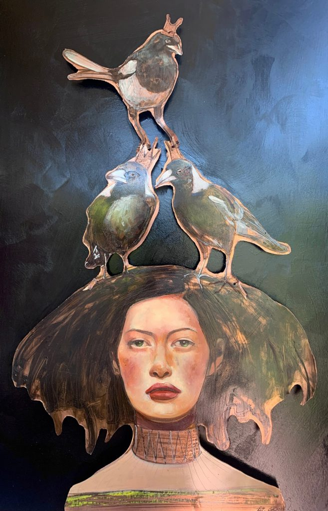Copper Art- Liz Gray's Magpie Maiden oil on copper work showing a woman with magpie birds on her head